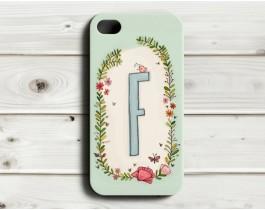 Çiçekli Harfler Telefon Kılıfı - F