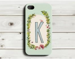 Çiçekli Harfler Telefon Kılıfı - K