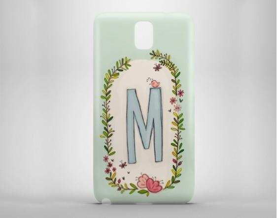 Çiçekli Harfler Telefon Kılıfı - M